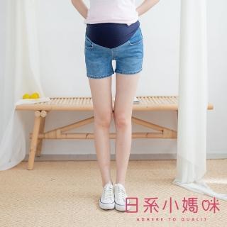 【AILIAN 日系小媽咪】後口袋車邊小蕾絲牛仔短褲 可調式瑜珈腰圍 M-XXL(孕婦褲)  AILIAN 日系小媽咪