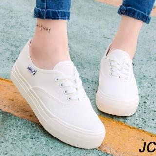 【JC Collection】學院風透氣舒適厚底百搭繫帶小白鞋帆布鞋休閒鞋(白色)  JC Collection