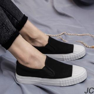 【JC Collection】經典質感潮流款式休閒板鞋帆布鞋懶人鞋(黑色)優惠推薦  JC Collection
