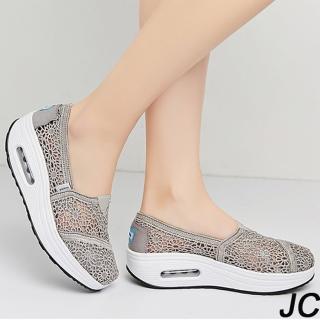 【JC Collection】增高顯瘦蕾絲清便透氣網布舒適好走搖搖鞋休閒鞋《版型偏小 加半號選購》(黑色、灰色)  JC Collection