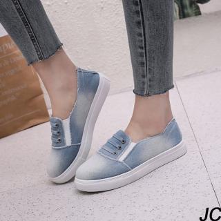 【JC Collection】帆布牛仔淺藍色鬆緊厚底顯瘦帆布鞋懶人鞋休閒鞋(淺藍色)  JC Collection