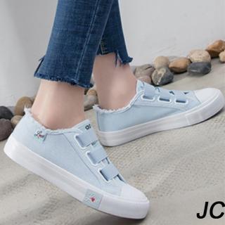【JC Collection】時尚款式青春粉嫩色系防滑厚底帆布懶人鞋休閒鞋(藍色、粉色)折扣推薦  JC Collection