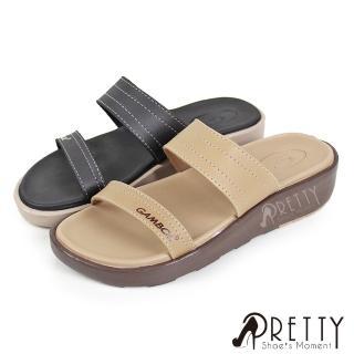 【Pretty】素面一字防水厚底小坡跟拖鞋(米色、黑色)好評推薦  Pretty