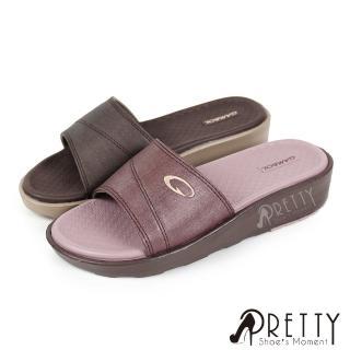 【Pretty】質感仿編織布紋防水厚底小坡跟拖鞋(紫色、咖啡)  Pretty