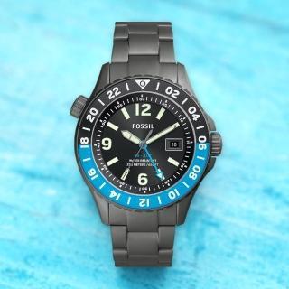 【FOSSIL】GMT 限量鈦金屬200米潛水錶-灰/45mm(LE1100) 推薦  FOSSIL