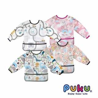 【PUKU 藍色企鵝】長袖立體防水圍兜衣(汽車/動物/獨角馬/恐龍)  PUKU 藍色企鵝