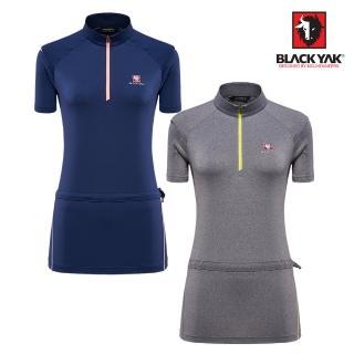 【BLACK YAK】女YAK ICE拼接半開襟短袖上衣│BY181WC803(半開襟 短袖 上衣)  BLACK YAK