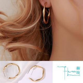 【HERA 赫拉】簡約亞光幾何扭轉金屬耳環-2色(金屬 簡約 幾何 線條)品牌優惠  HERA 赫拉