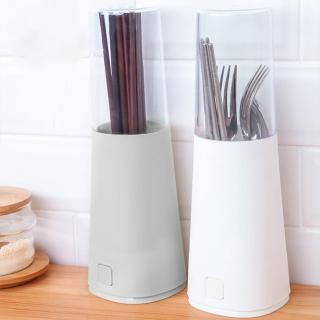 【E.City】可拆卸透明蓋瀝水餐具筷子收納筒(底部瀝水孔設計)  E.City