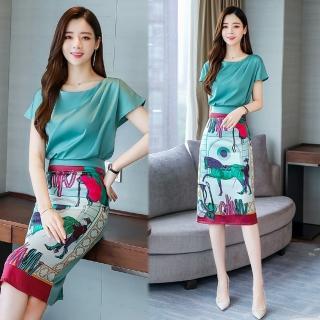 【SZ】優雅純色圓領上衣+歐風印花裙套裝M-2XL(共二色)  SZ