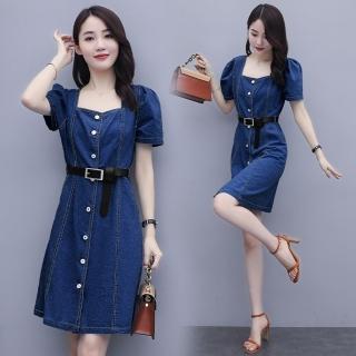 【SZ】韓版減齡少女方領腰繫帶牛仔短洋裝S-2XL(共二色)  SZ