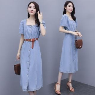 【SZ】減齡少女風方領腰繫帶排釦牛仔連衣裙S-2XL(共二色) 推薦  SZ