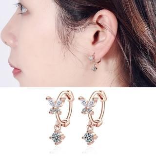 【HaNA 梨花】韓系925銀針甜美蝴蝶相隨點鑽環繞耳扣耳環  HaNA 梨花