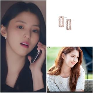 【HaNA 梨花】韓國925銀夫妻的世界韓素希方型鑲鑽耳環優惠推薦  HaNA 梨花