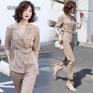 【SZ】簡約氣質西裝翻領純色修身衣褲二件套S-XL  SZ