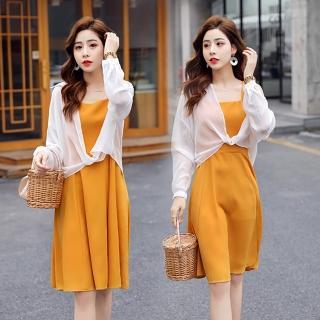 【SZ】透膚白防曬罩衫+麗黃活漾純色吊帶裙M-2XL  SZ