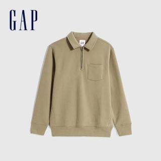【GAP】男裝 簡約風格拉鍊半開卷上衣(627566-卡其色)  GAP