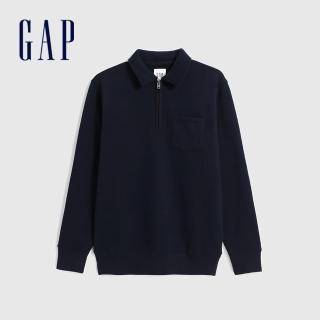 【GAP】男裝 簡約風格拉鍊半開卷上衣(627566-海軍藍)好評推薦  GAP
