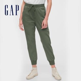 【GAP】女裝 活力亮色鬆緊梭織休閒褲(630261-軍綠色)  GAP