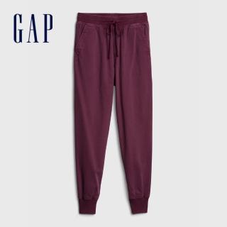 【GAP】女裝 活力亮色鬆緊梭織休閒褲(630261-暗紅色)  GAP