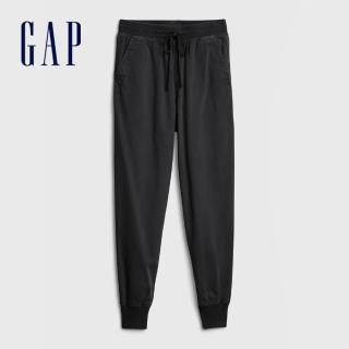 【GAP】女裝 活力亮色鬆緊梭織休閒褲(630261-黑色)  GAP