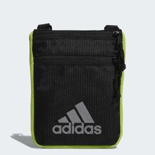 【adidas 愛迪達】肩背包 斜背包 多功能小包 收納包 黑綠 FM6854  adidas 愛迪達