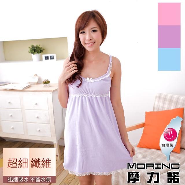 【MORINO】超細纖維素色蕾絲浴裙/