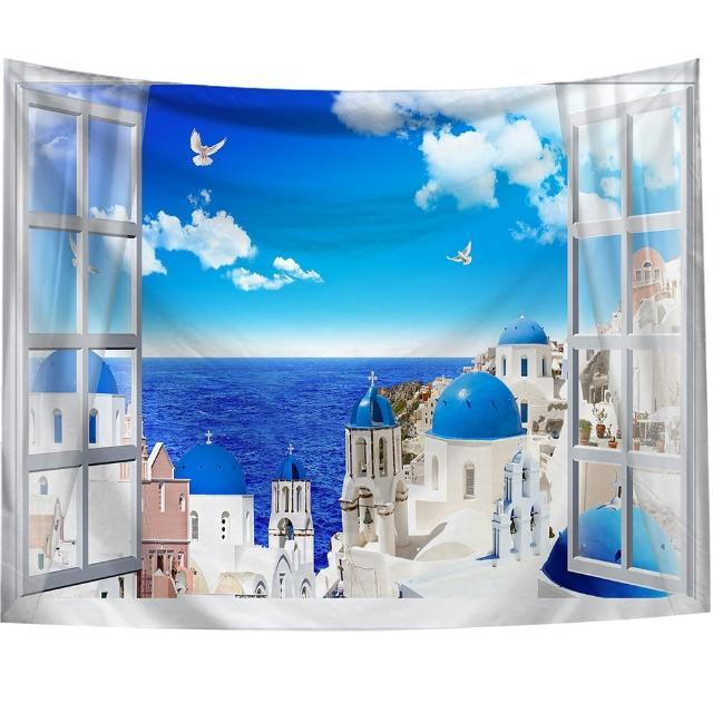 【半島良品】贈星星燈-窗景愛琴海/北歐掛布掛毯(掛毯
