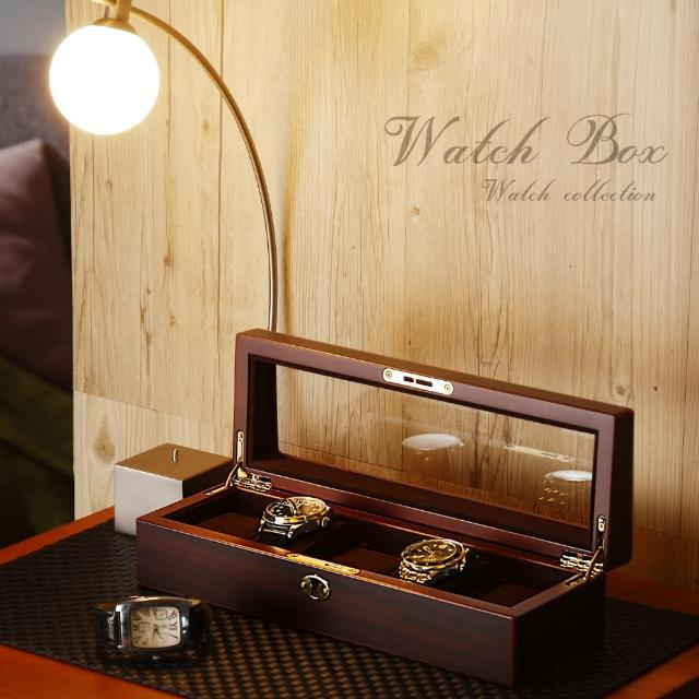 【TaKaYa】5入木質手錶收納盒/手錶防塵/錶盒/日本/可鎖鑰匙/含錶枕(台灣製造)/