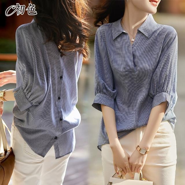 【初色】韓版造型背扣襯衫-藍色-98917(M-2XL可選/現貨+預購)/