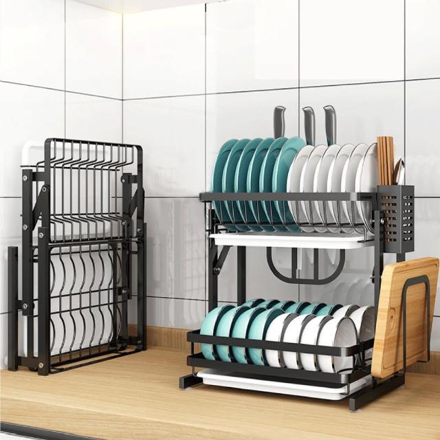 【慢慢家居】免組裝-不鏽鋼雙層可折疊碗盤瀝水架(大全配)/