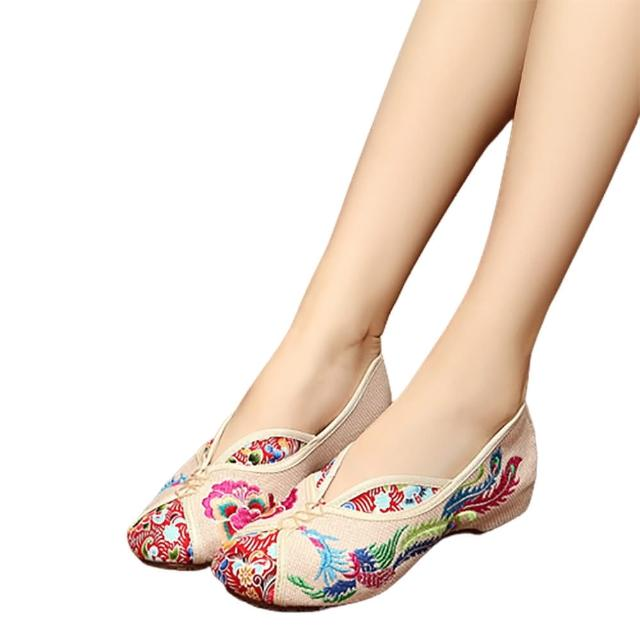 【Taroko】客家花布繡花圓頭淑女布質娃娃鞋(3色可選)/