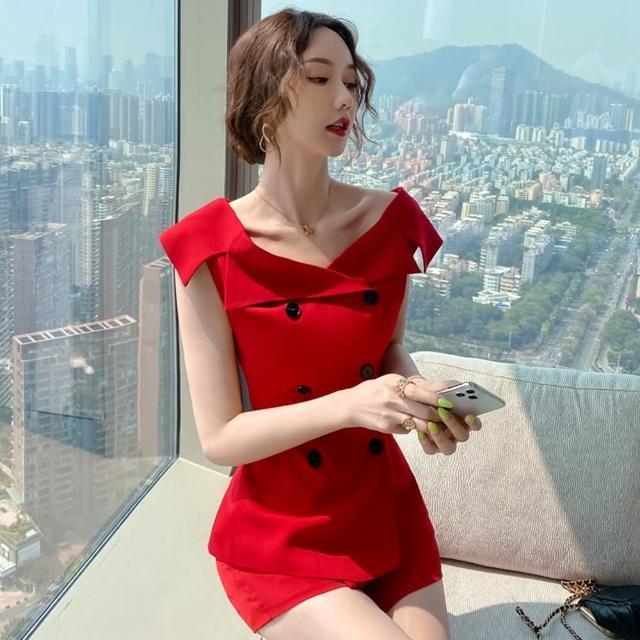 【Dorri】俐落時尚雙排釦收腰顯瘦短褲套裝S-2XL(共二色)/