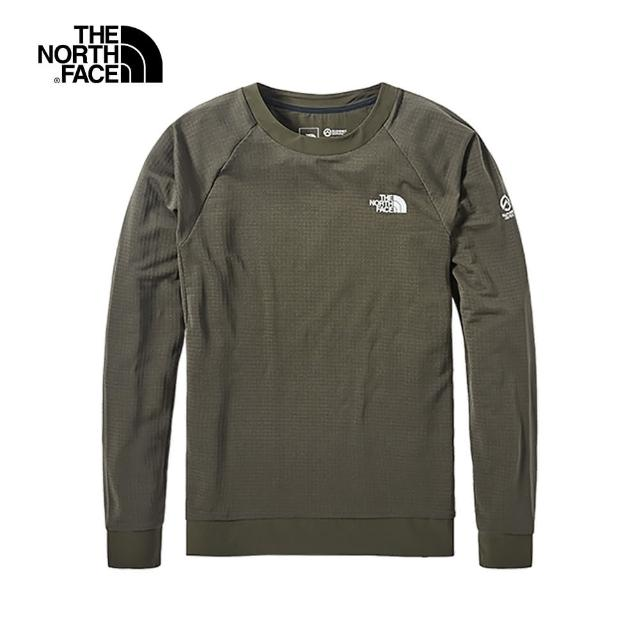 【The North Face】The North Face北面男款綠色圓領長袖T恤|4AL121L