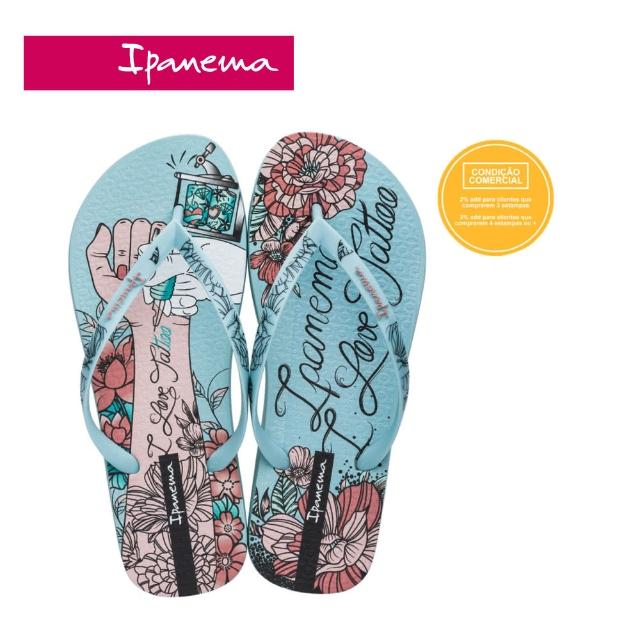【IPANEMA】Women Ipanema SEM IGUAL TATTOO刺繡印花系列夾腳拖鞋(藍-2645420386)