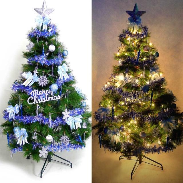 【摩達客】耶誕-12尺/12呎-360cm台灣製特級綠松針葉聖誕樹(含藍銀色系配件組/含100燈鎢絲樹燈8串)