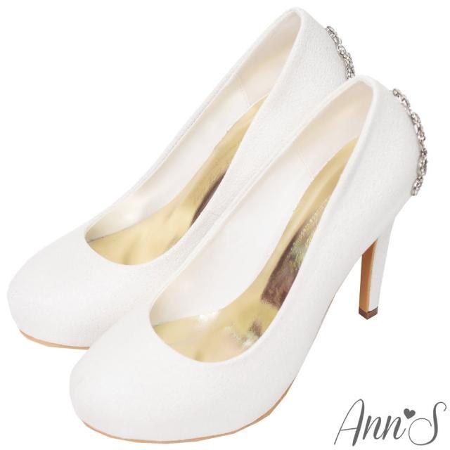 【Ann'S】公主的珠寶盒-水鑽皇冠防水台厚底高跟婚鞋(白)