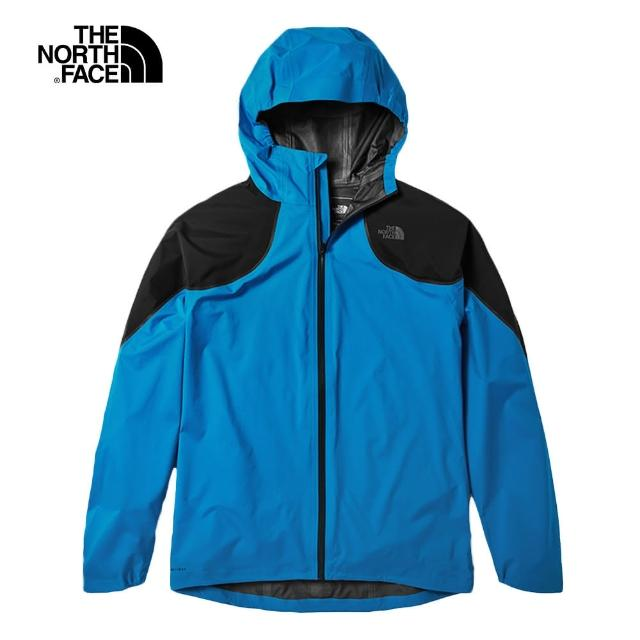 【The North Face】The North Face北面男款藍色防水透氣連帽衝鋒衣|3RNSW8G