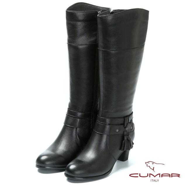 【CUMAR】時尚品味-流蘇設計真皮高跟長靴(黑色)