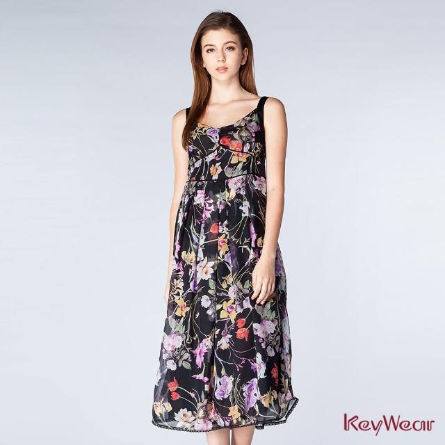 【KeyWear 奇威名品】高貴氣質絲質印花無袖洋裝