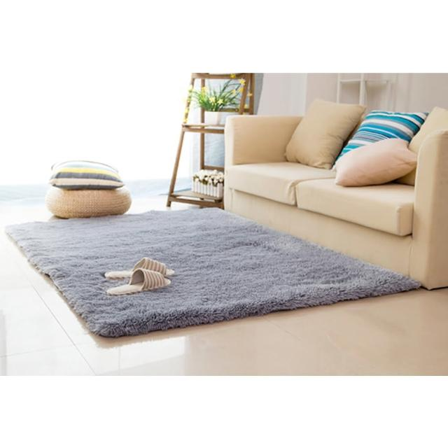 【幸福揚邑】舒壓長毛羊絲絨超軟防滑吸水地墊地毯-銀灰(140x200cm)