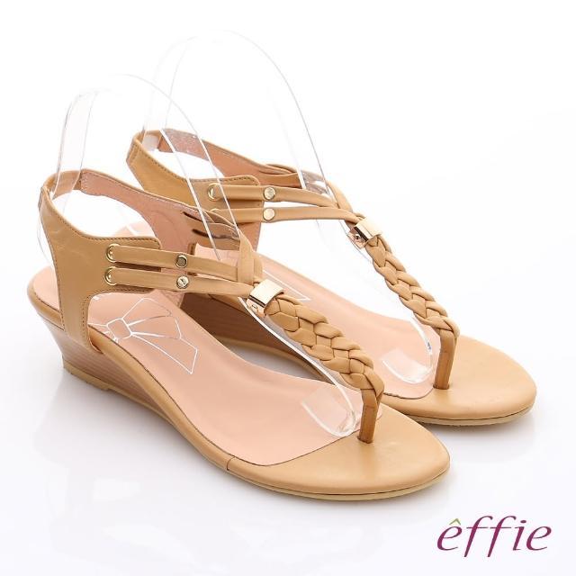 【effie】個性涼夏 Y字麻花鬆緊帶小坡跟涼鞋(卡其)