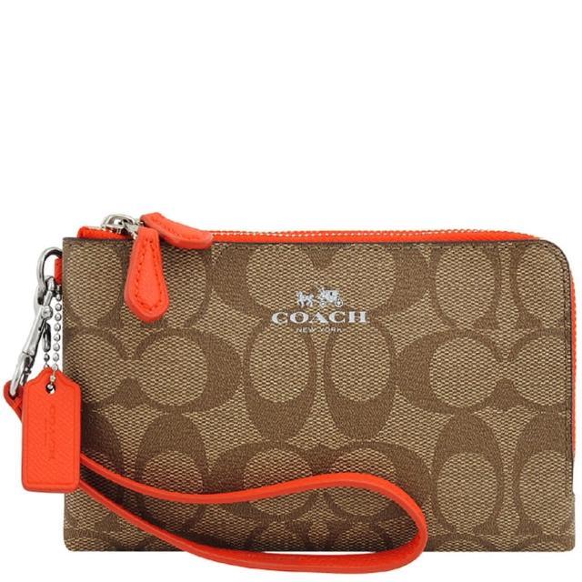 【COACH】馬車大C PVC雙層手拿包-橘紅色(買就送璀璨水晶觸控筆)