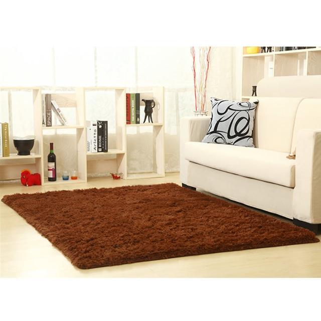 【幸福揚邑】舒壓長毛羊絲絨超軟防滑吸水地墊地毯-咖啡(140x200cm)