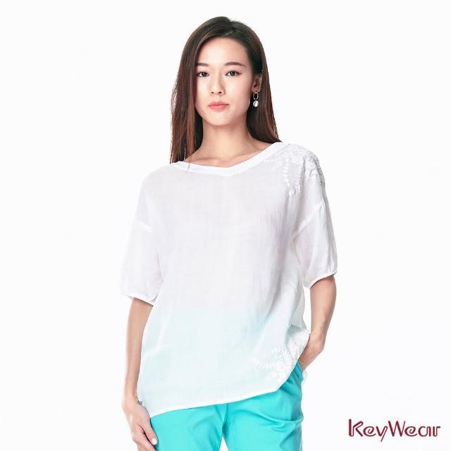 【KeyWear 奇威名品】典雅刺繡風格麻料寬鬆五分袖上衣