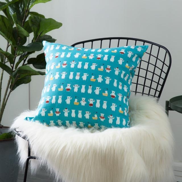 【IN-HOUSE】純棉抱枕-藍色北極熊(50x50cm)
