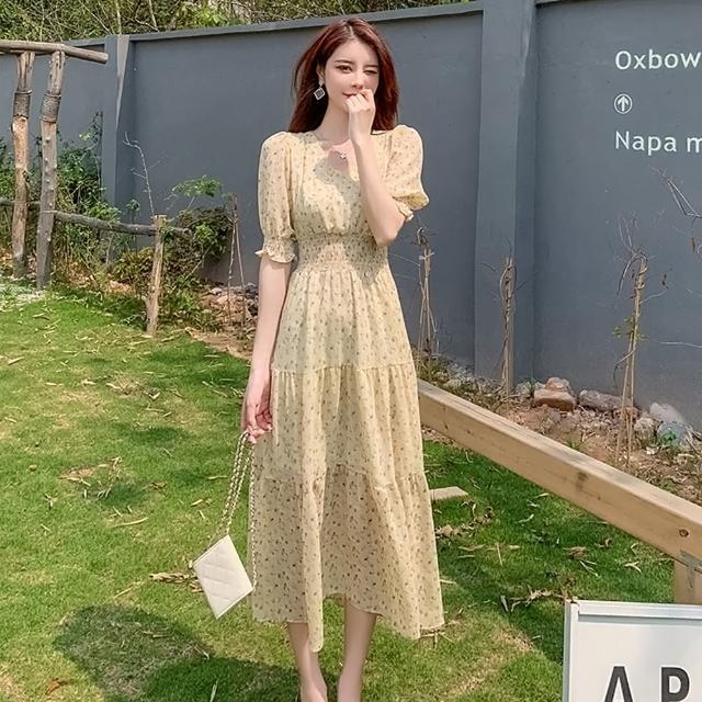 【Dorri】淡雅脫俗V領鬆收緊腰碎花洋裝S-XL(共二色)