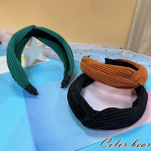 【卡樂熊】立體壓紋交叉寬版造型髮箍(三色)
