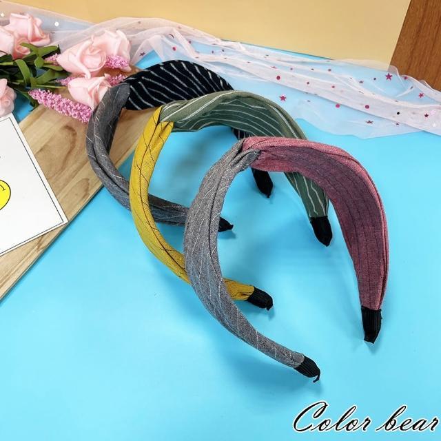 【卡樂熊】棉麻撞色拼接扭結造型髮箍(三色)