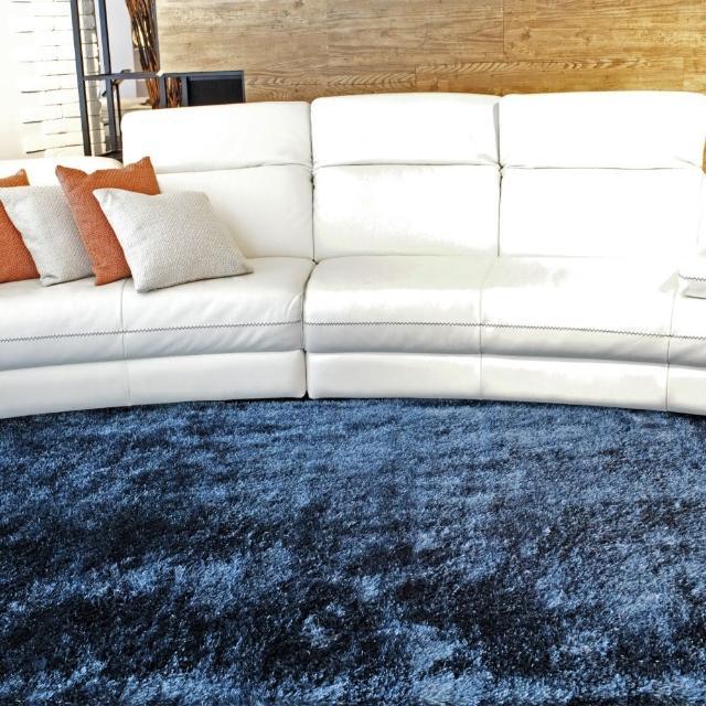 【山德力】歐密地毯 -藍 140x200cm(地毯 長毛 毯子 毛毯 溫暖 生活美學)